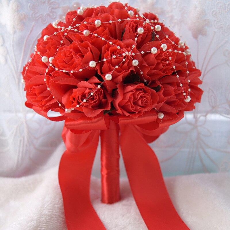 Горячая Распродажа 2020 Свадебный букет с красными цветами, жемчужный букет для свадьбы, недорогой букет с цветами, Bouquet букет невесты