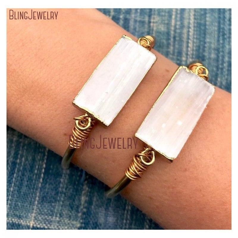 Pulsera de selenita pulsera de barra de selenita cruda brazalete de barra de oro lleno de latón crudo ajustable brazalete de selenita blanca brazalete BM27696