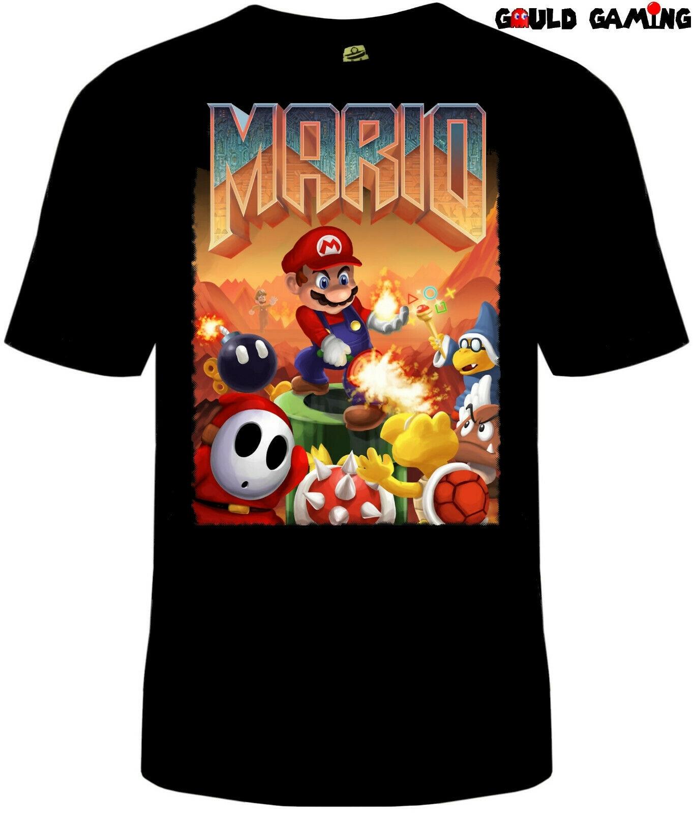 Doom Super Mario camiseta Unisex algodón adulto divertido videojuego Retro Guns nuevo