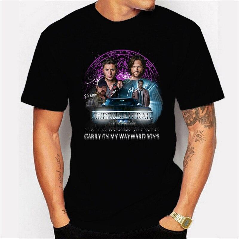 2020 coton t-shirt hauts Supernatural t-shirt hommes été à manches courtes chemise surdimensionné t-shirt Blusas Mujer De Moda noir hauts blancs
