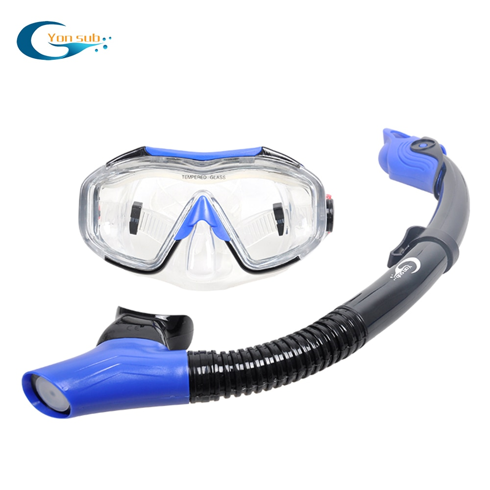 Scuba Diving Swimming Mask Set Anti-fog Underwater Snorkeling Mask Equipment Four Lens Wide Vision Mask+Easy Breath Dry Snorkel