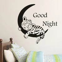 Autocollant Mural en vinyle de dessin anime bonne nuit lune et petit tigre  papier peint amovible  decoration de maison  pour chambre denfants  pepiniere  A629