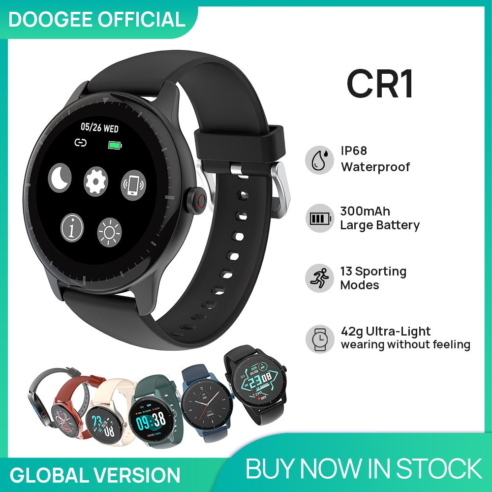 DOOGEE CR1 Smart watch IP68 Waterproof Bluetooth 5.0 Sleep Monitor Fitness Heart Rate Tracker SmartW