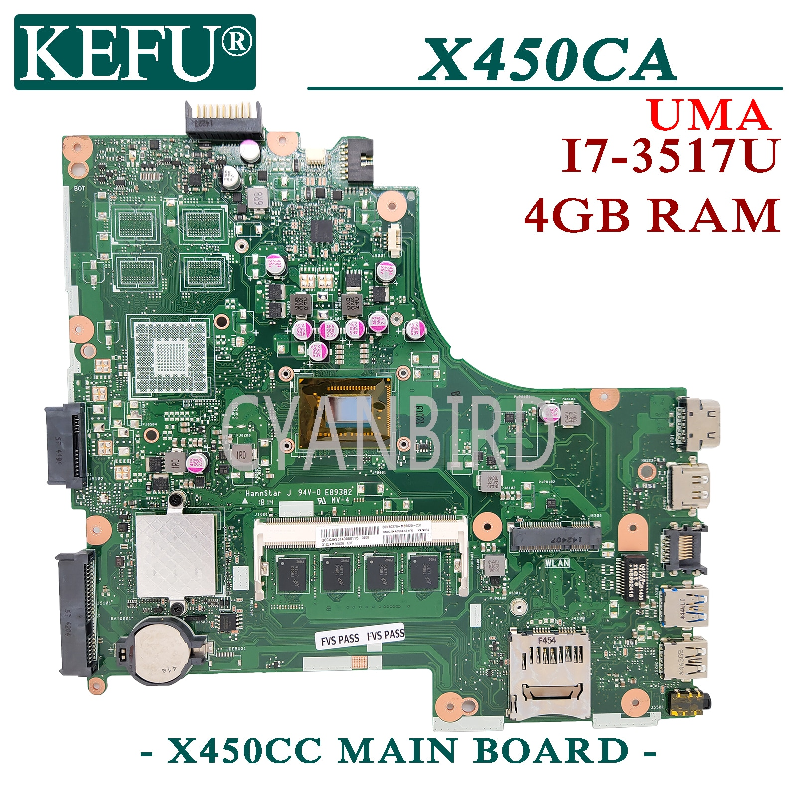 KEFU X450CC الأصلي اللوحة الرئيسية لشركة آسوس X450CA X450C مع 4GB-RAM I7-3517U اللوحة الأم للكمبيوتر المحمول