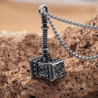 vintage viking thors hammer pendant nordic antique stainless steel biker men viking necklace chain fashion jewelry gift