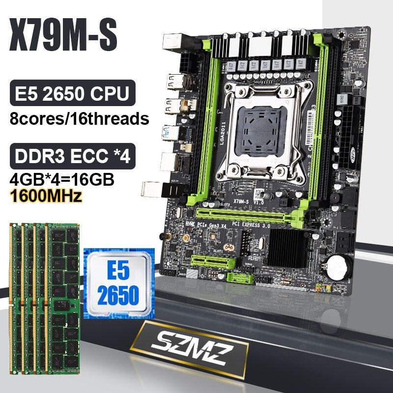 X79 اللوحة LGA 2011 مجموعة مع Xeon E5 2650 وحدة المعالجة المركزية 16GB DDR3 ECC 1600MHz RAM PC قاعدة لوحة X79 الألعاب عدة دعم E5 2689 2690