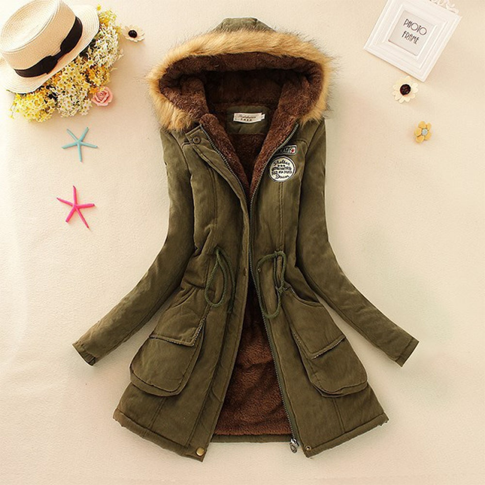 Women's Winter Fashion Parka Oversized Long-Sleeved Thick Warm Hooded Cotton Clothing Student Jacket Casual Slim Coat