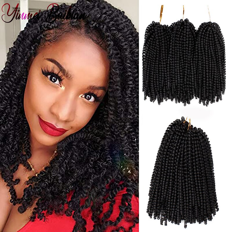 Yinmei Baibian 8inch Ombre Spring Twist Hair Crochet Braids Synthetic Extensions 30Roots Black Brown Color Crochet Braiding Hair onxy 8inch fluffy spring twist crochet hair extensions synthetic crochet braids black brown ombre braiding hair 110g