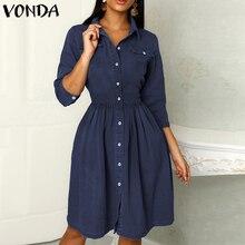VONDA 2020 Mini vestido azul mujer Oficina señora camisa Vestidos otoño cintura alta ajustado elegante Vestido corto de verano de talla grande playa Vestidos