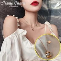 2021 creative hourglass pendent necklace luxury famous jewelry rose gold titanium steel hourglass love necklace clavicle chain