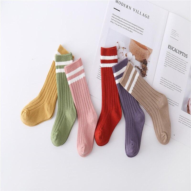 Crianças meias de inverno outono esportes algodão listra cor sólida comprimento médio para crianças linhas estudante meias 1-8y