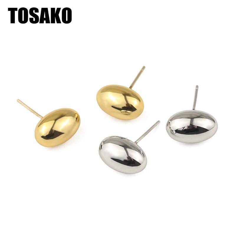 TOSAKO مسمار مجوهرات أقراط نسائية الذهب اللون بساطتها أقراط التصميم