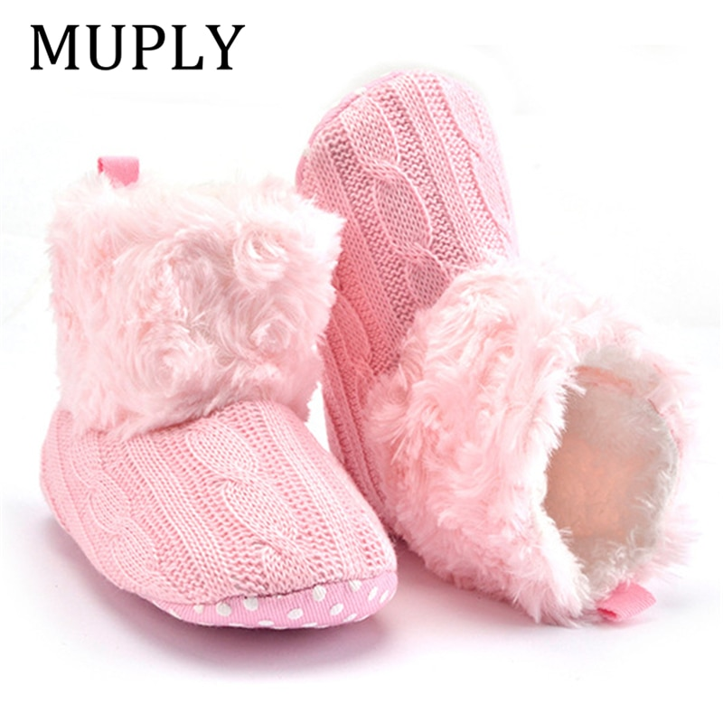 2019 inverno quente primeiros caminhantes bebê tornozelo botas de neve infantil crochê malha velo sapatos de bebê para meninos meninas