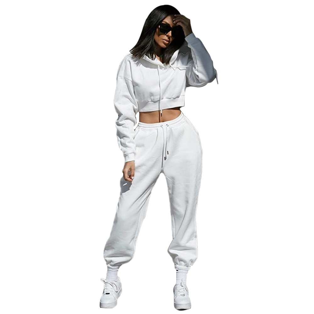 Two Piece Set Women Spring Fall Casual Sport Suit Clothes for Women Hooded Short Style Sweatsuit Long Pant Female Outfits sport style optiks woven pant