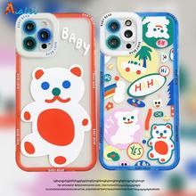 Cartoon Cute Bear Phone Case For iPhone 13 12 11 Pro Max X XS Max XR 7 8 Plus SE2020 Transparent Ant