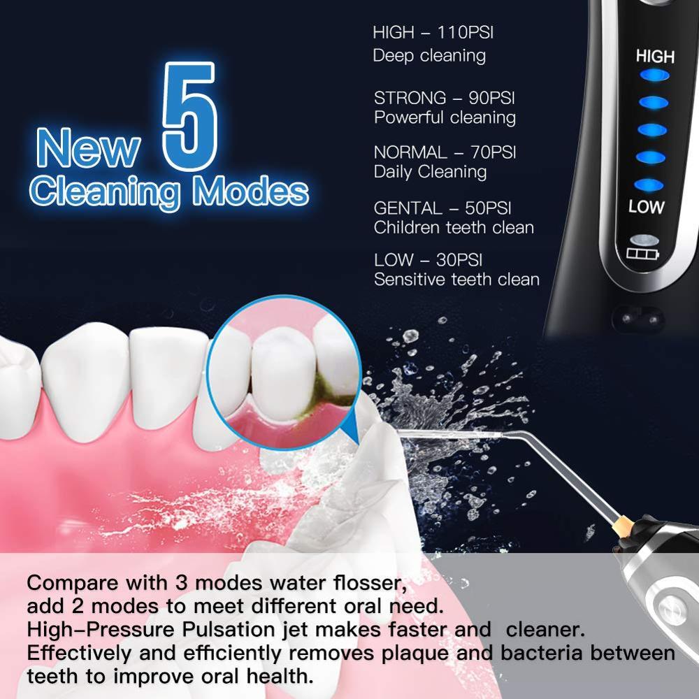 300ml Cordless Oral Irrigator USB Rechargeable Portable Dental Water Floss 5 Modes Irrigator Dental Teeth Cleaner+5 Jet Tip&Bag enlarge