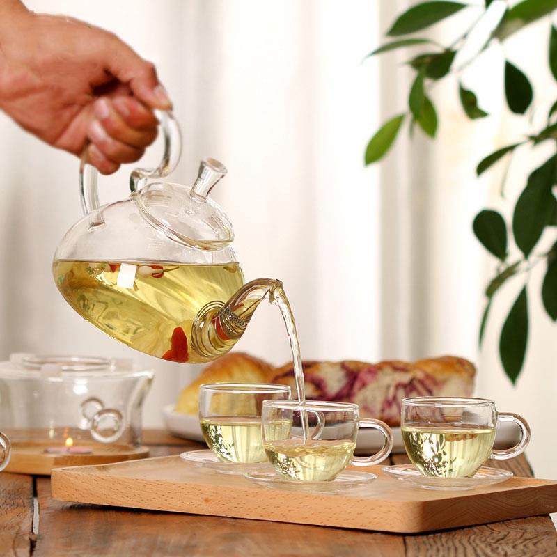 Tetera de cristal para jugo de frutas, colador para el hogar, servidores de café, bebidas de agua económicas, cocina resistente al calor, tetera para restaurante