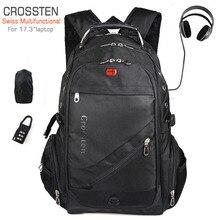"""Crossten İsviçre çok fonksiyonlu 17.3 """"USB şarj aleti portu Laptop sırt çantası okul çantası su geçirmez yüksek kapasiteli Mochila seyahat çantası"""