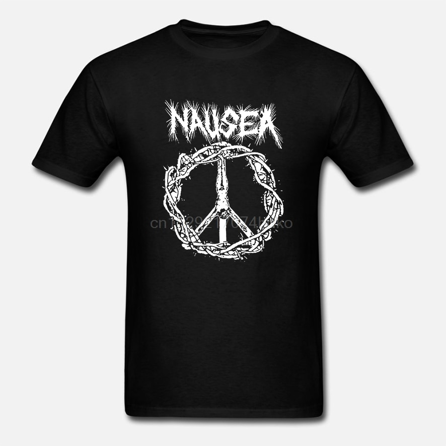 Náusea-nyc-crosta-punk-banda-icônico-jesus-em-cruz-logotipo-preto-camiseta-manga curta