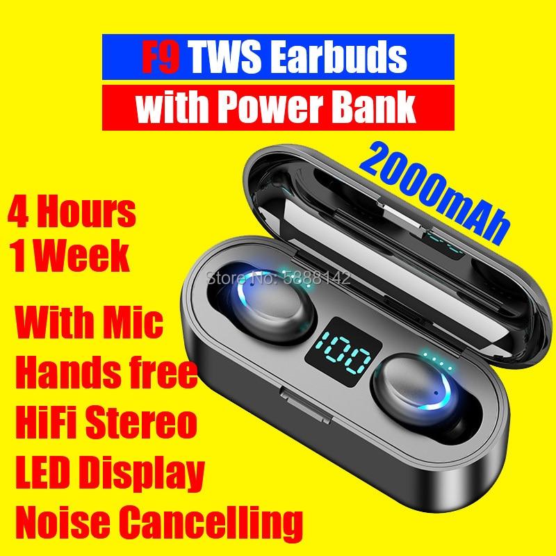 Auriculares F9 Tws con batería externa, cascos con Bluetooth, Senza Fili Oortjes