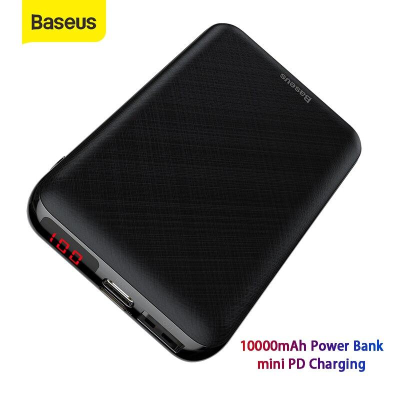 Baseus Mini 10000mAh Power Bank Portable Charger USB Type-C Powerbank Small External Battery Pack Bank Travel Charging For Phone
