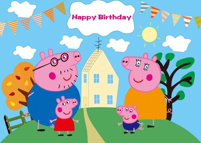 Telón de fondo para fotografía de Peppa Pig, 125x80CM, diseño para fiesta de cumpleaños, decoración de pared, regalos para niños
