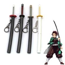 Anime Demon Slayer Kimetsu no Yaiba Cartoon Kamado Tanjirou Sword Keychain Blade of Ghost Keyring Weapons Model Cosplay Jewelry
