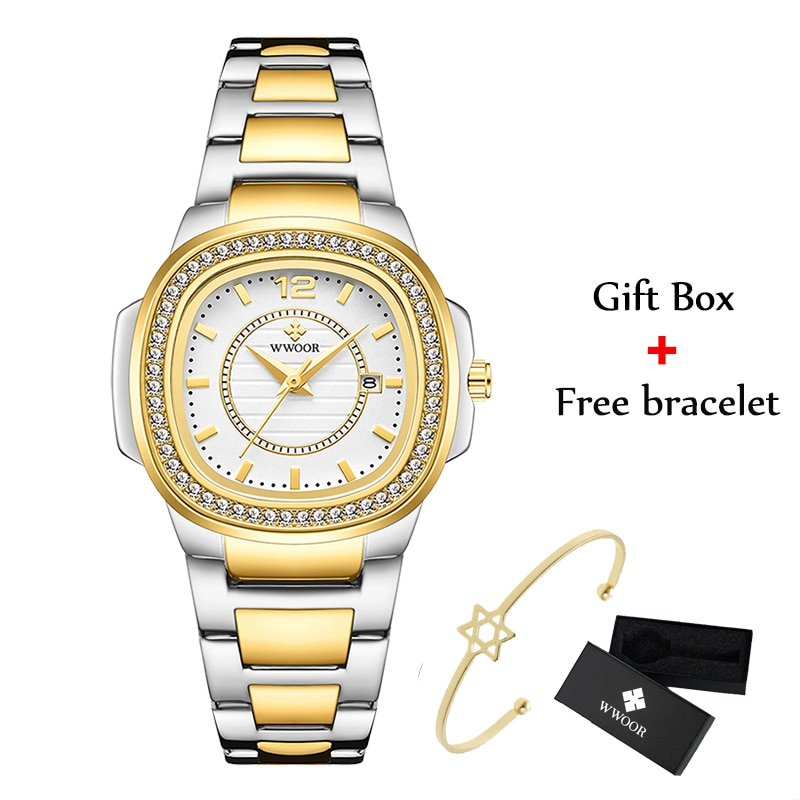 WWOOR Golden Watch For Women Bracelet Watches Top Brand Luxury Diamond Quartz Stainless Steel Ladies Wrist Watch 2021 Gifts Xfcs enlarge