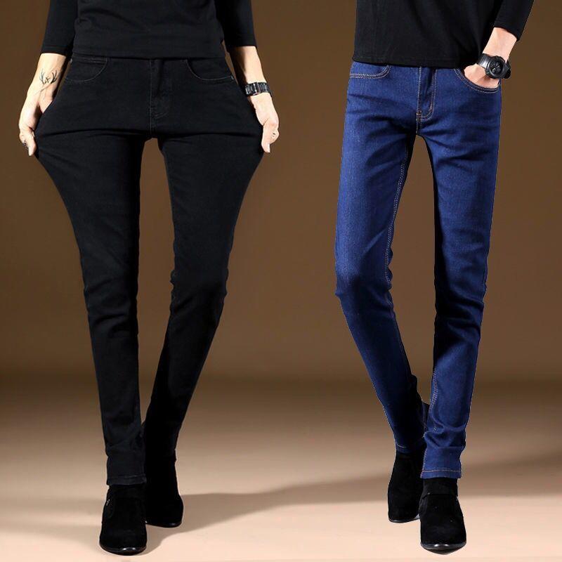 2020 ремешок тонкий стиль Мужские брендовые джинсы бизнес повседневное стрейч зауженные джинсы джинсовые штаны светильник синий черные брюк...