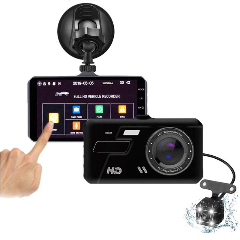 Автомобильный видеорегистратор с двумя объективами, Full 1080P, 4 дюйма, IPS, автомобильная камера, видеорегистратор, G-датчик, режим парковки, WDR