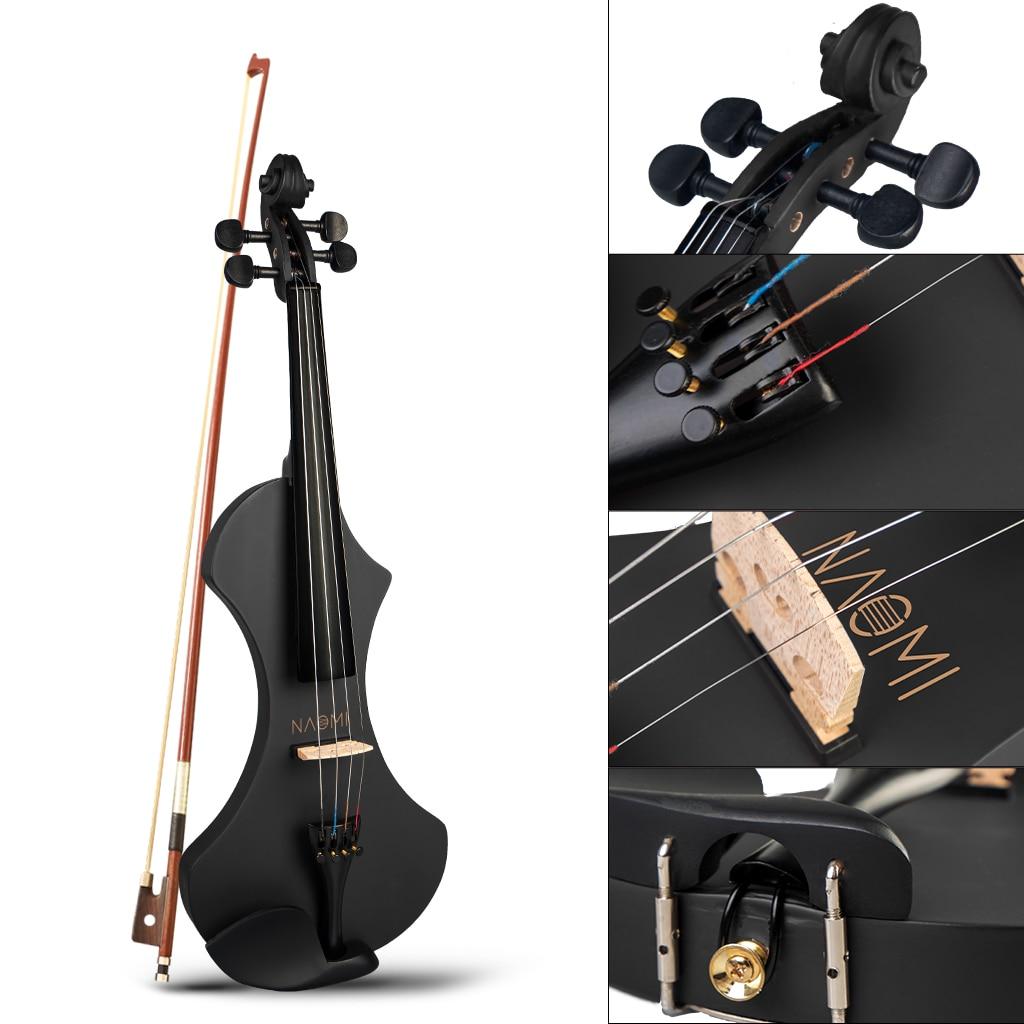 4/4 Silent Electric Solid Wood Violin Set-V1BK Matte Black Color w/ Aluminum Alloy Tailpiece Violin Bow+Case+Tuner+Bridge+Rosin enlarge