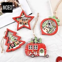 christmas decoration wooden luminous pendant creative small tree five pointed star pendant with light christmas gifts 2021 new