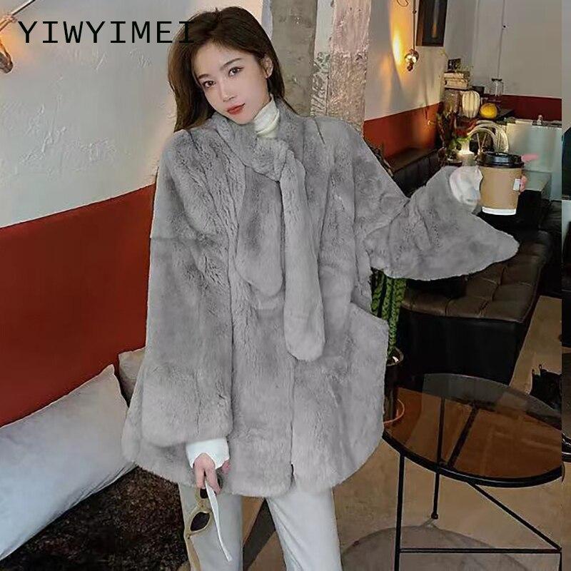 Женская шуба из искусственного меха норки, зимняя модная розовая шуба из искусственного меха, элегантная плотная теплая верхняя одежда, кур...