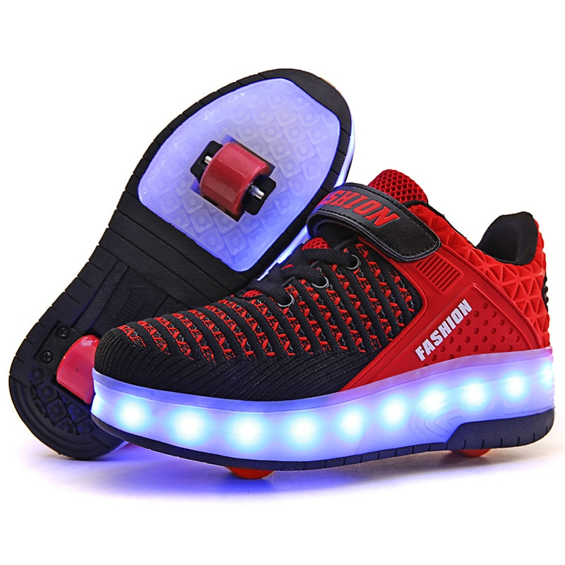 Children's Walk Boys Shoes For Girl Kids Single And Double Wheel Skating Shoes Student Adult Charging LED Lamp Pulley enlarge