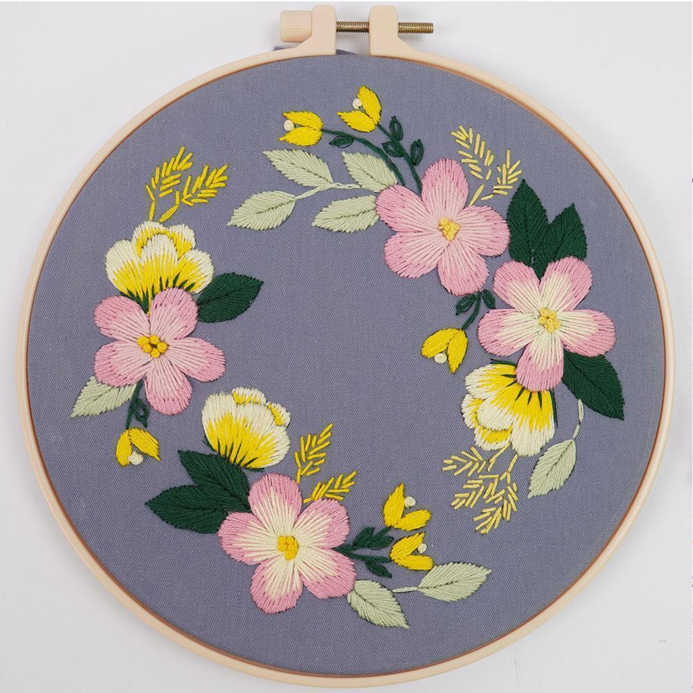 Borduurpakket-Kit de bordado a mano con bordado de flores, bordado a mano...