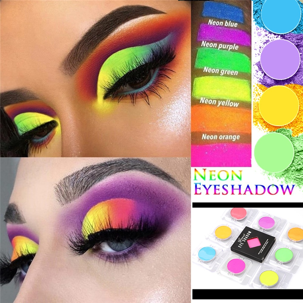 1Pc Yellow Green Blue Eye Shadow Luminous Neon Eyeshadow Powder Summer Matte Mineral Eyeshadow Powder Beauty MakeupTool Cosmetic