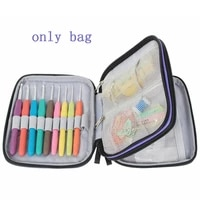 new crochet hook case organizer zipper bag with web pockets for various crochet needles and knitting accessories storage tool