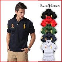 RALPH LAUREN- Men Short Sleeve Polo Chest Three Stripe Color Matching Fashion Collocation Cross-border Short Sleeve Polo Shirt