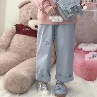 korean japan style loose casual baggy cartoon loose pants harajuku streetwear kawaii blue high waist leg sweat trousers female