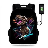 17inch Classic Dinosaurs/Shark Print Backpack usb Charger Schoolbag Laptop Backpacks for Teenage School Bag Boys Mochila