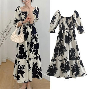 ZA2021 summer new style women's European and American style retro fashion stretch waist slimming printed long dress