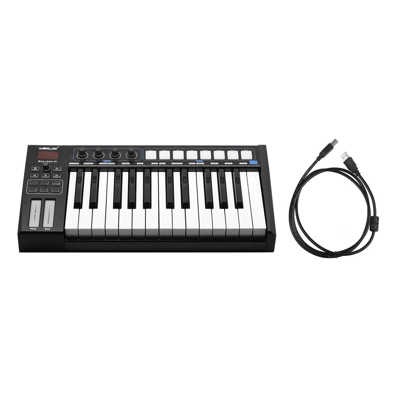 WORLDE azul ballena 37 controlador MIDI portátil teclado teclas Semi-pesadas 8 RGB retroiluminada almohadillas de disparo pantalla LED con Cable USB