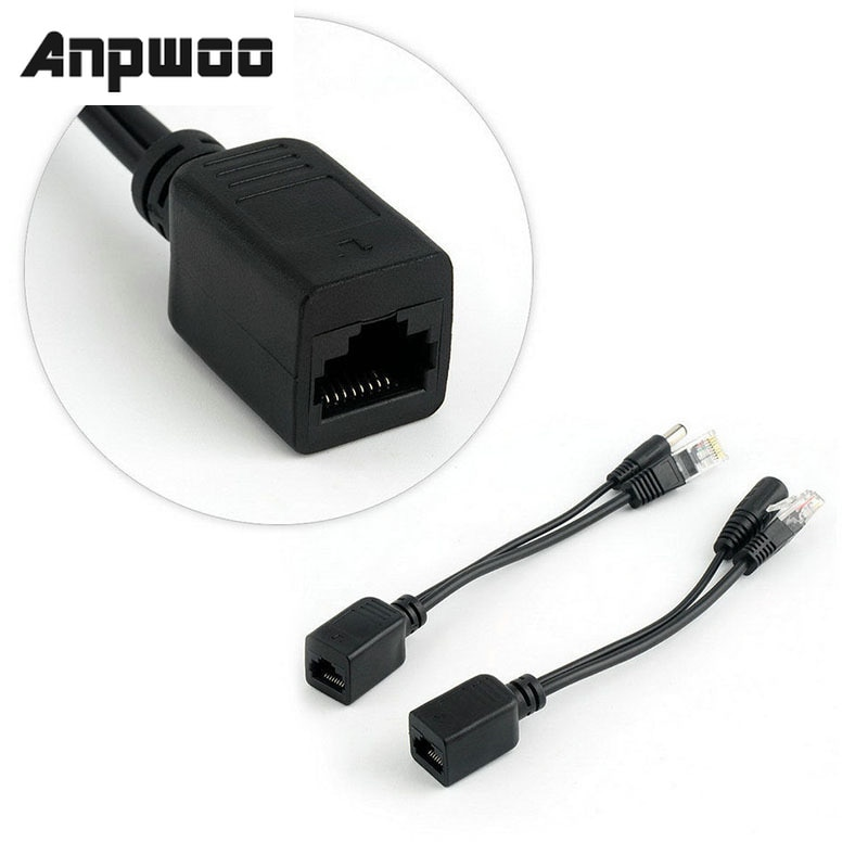 ANPWOO POE Cable Passive Power Over Ethernet Adapter Cable POE Splitter RJ45 Injector Power Supply M