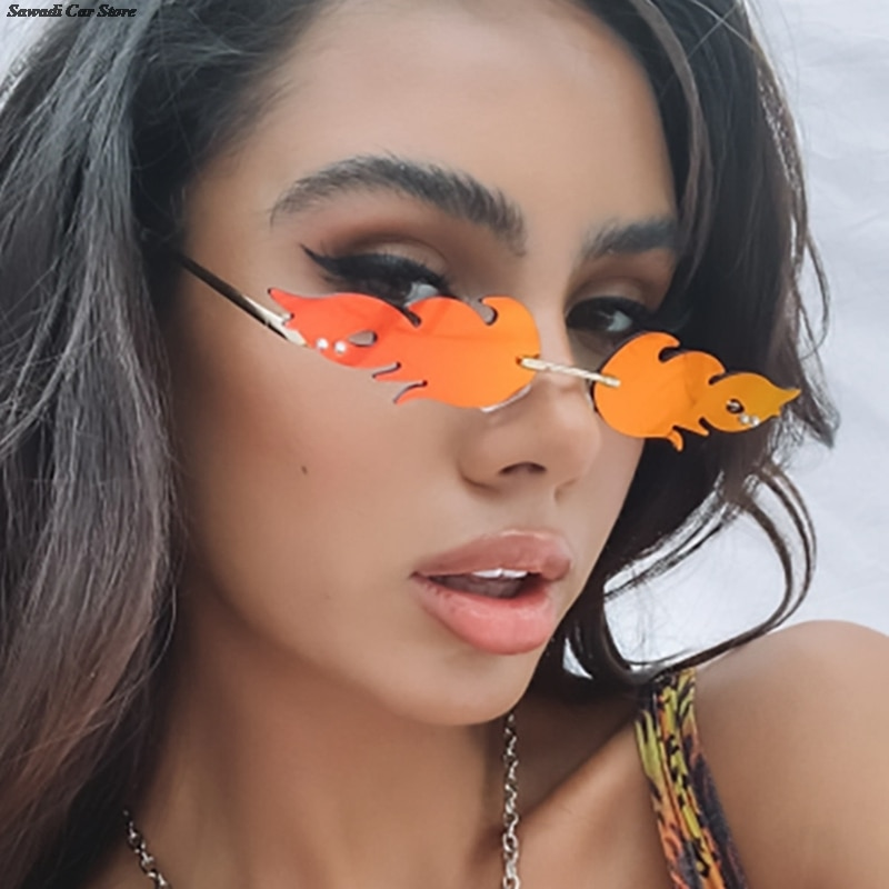 Rimless Fire Flame Sunglasses Women Men Rimless Sunglasses Luxury Brand Fashion Sun Glasses Personal