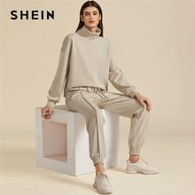 SHEIN kaki solide col haut sweat et cordon taille pantalon de survêtement ensemble automne vêtements actifs goutte épaule tenues décontractées