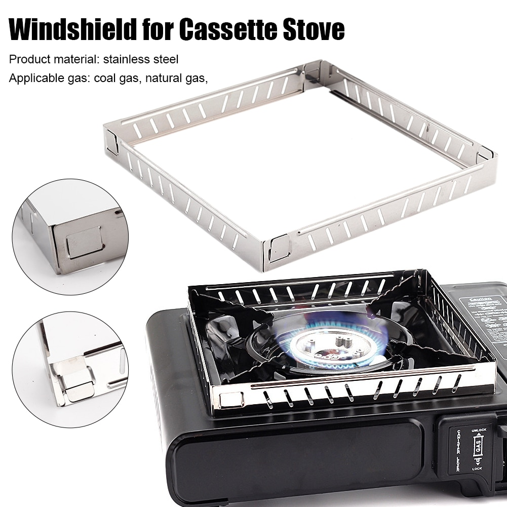 Outdoor Aluminium Alloy Wind Screen Shield Foldable Stove Windshield Camping Cooking BBQ Gas Cassette Stove Camping Equipment