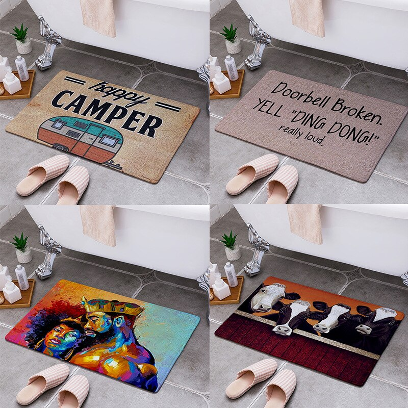 Cartoon Camper Carpet Bathroom Entrance Doormat Floor Rugs Absorbent Mat Anti-slip Kitchen Rug for Home Bedroom Decorative Mat