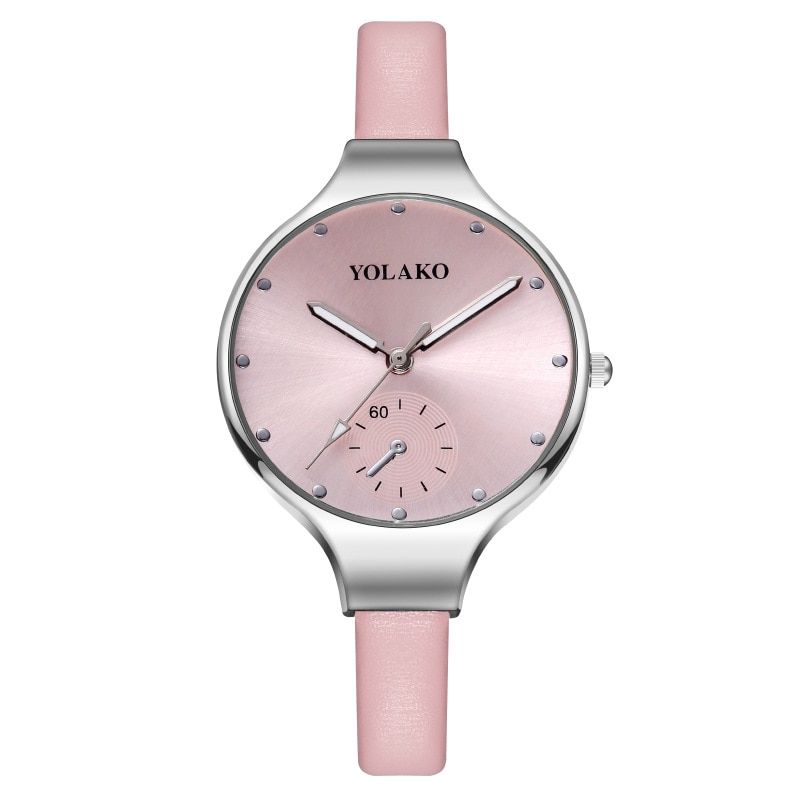 Simple Ladies Quartz Watches Pink Fine Leather Strap Casual Large Dial Watch For Women Montre Femme