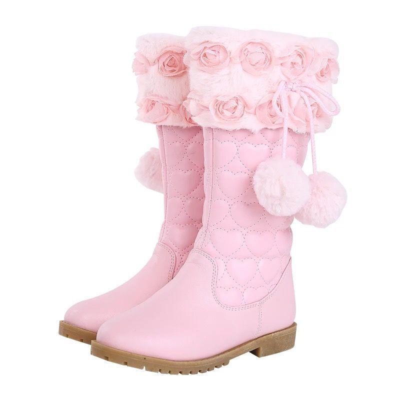 Spot Girls Boots 2020 Winter New Korean Princess Flat-Heeled Cotton Boots Children Sweet Mao Mao High Boots enlarge