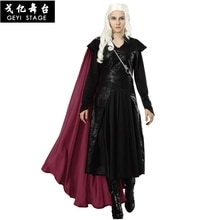 2019 nouveau film saison 8 Daenerys Targaryen Cosplay Costume Trench manteau veste avec broche Halloween cape robe